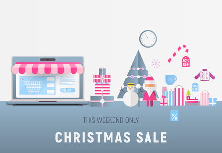Online Shopping Christmas Sale Banner - Santa Claus, Snowman, Fir Tree, Gifts and Purchases near Big Laptop with Store Shop. Vector Illustration for Mobile Apps and Web Site Design.