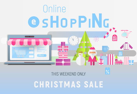 Online Shopping Christmas Sale Banner - Santa Claus, Snowman, Fir Tree and Purchases near Big Laptop with Store Shop. Vector Illustration for Mobile Apps and Web Site Design. Stock Illustratie