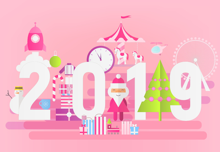Modern Flat Design New Year Card 2019 on Pink Background with Santa Claus. Vector Illustration for Mobile Apps and Web Site Design. Stock Illustratie