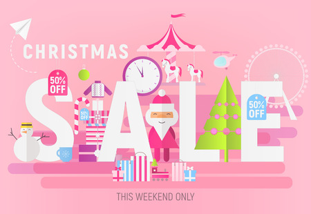 Modern Flat Design Concept of Christmas Big Sale – Storefront of Xmas Shop on Pink Background with Santa Claus and Winter Gifts. Vector Illustration for Mobile Apps and Web Site Design. Stock Illustratie