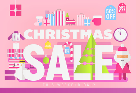 Modern Flat Design Concept of Christmas Big Sale – Storefront of Xmas Shop on Pink Background with Santa Claus. Vector Illustration for Mobile Apps and Web Site Design.