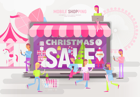 E-commerce Christmas Sale Banner - Santa Claus, Snowman and Young People Making Purchases near Big Laptop with Store Shop. Vector Illustration for Mobile Apps and Web Site Design.