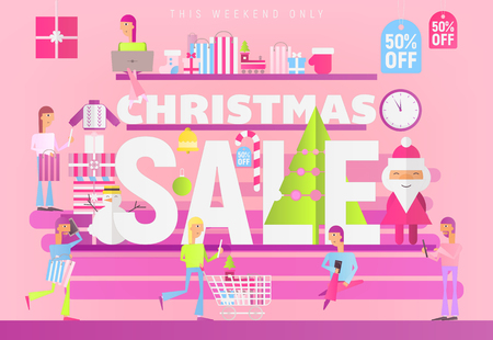Modern Flat Design Concept of Christmas Big Sale – People Making Purchases in Xmas Shop on Pink Background. Vector Illustration for Mobile Apps and Web Site Design.