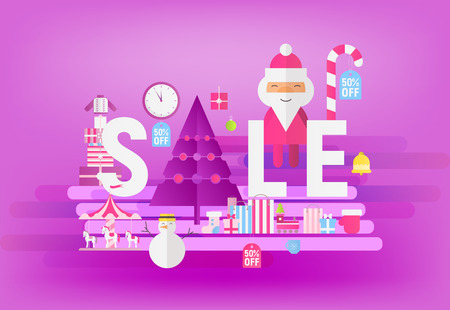 Modern Flat Design Concept of Christmas Big Sale – Storefront of Xmas Shop on Ultraviolet Background with Santa Claus and Shopping Bags. Vector Illustration for Mobile Apps and Web Site Design.
