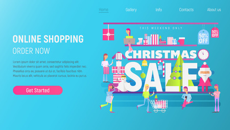Landing Page Template of Online Winter Holidays Shopping. Modern Flat Design Concept of Christmas Big Sale – Flat People Making Purchases using Mobile Gadgets. Vector Illustration for Mobile Apps and Web Site Design.