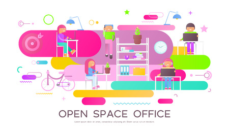 Coworking Space Concept - Young Cartoon Creative People Working in Modern Coworker Center. Vector Illustration. Trendy Colors. Business Office Banner on White Background. 向量圖像