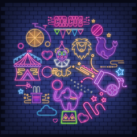 Circus Neon Glowing Icons Big Set. Amazing Shou Emblems - Fluorescent Ultraviolet Circus Characters and Objects with Shadow. Bright Signboard on Blue Brick Wall. Vector Illustration. 向量圖像
