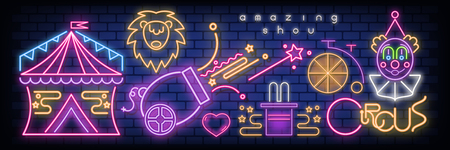 Circus Neon Glowing Icons on Banner. Amazing Shou Emblems - Fluorescent Ultraviolet Circus Characters and Objects with Shadow. Bright Signboard on Blue Brick Wall. Vector Illustration.