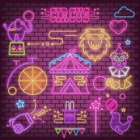 Circus Neon Glowing Icons Big Set. Amazing Shou Emblems - Fluorescent Ultraviolet Circus Characters and Objects. Bright Signboard on Violet Brick Wall. Vector Illustration.