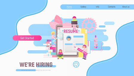 Landing Page Template of Hiring, Job Interview and Recruitment - Young Men and Women near Big Resume. Hiring a New Employee.  Vector Illustration. Modern Flat Design  for Website and Mobile Apps.