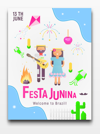 Festa Junina Poster for Latin American Holiday, June Festival in Brazil. Cartoon People and Carnival Objects. Vector Illustration.