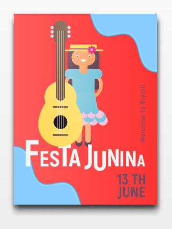 Festa Junina Retro Poster for Latin American Holiday, June Festival in Brazil. Young Girl with Guitar on Red Background. Vector Illustration. Vektorové ilustrace