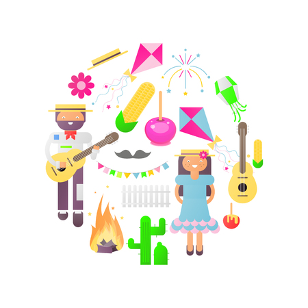 Festa Junina Isolated Objects for Latin American Holiday, June Festival in Brazil. Cartoon People and Carnival Icons. Vector Illustration.