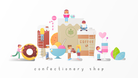 Confectionery Shop Banner with Small Size Cartoon People and Big Sweets, Pastry and Desserts. Vector Illustration.