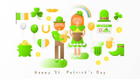Set Icons for Patricks day. Happy St. Patricks Day Greeting Card Template for Irish Beer Festival. Vector Illustration.