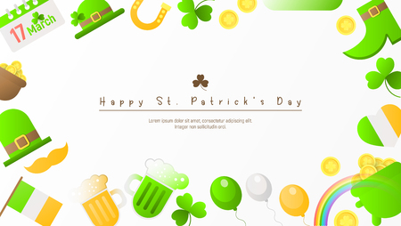 Happy St. Patricks Day Background with Irish Festival Icons. Patricks Day Frame. Place for Text. Vector Illustration. Ilustração