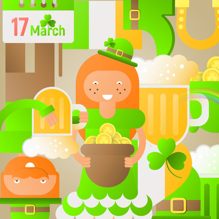 Happy St. Patricks Day Abstract Square Background with Irish Festival Icons and Symbols. Patricks Day Poster with Cartoon Flat People. Vector Illustration.
