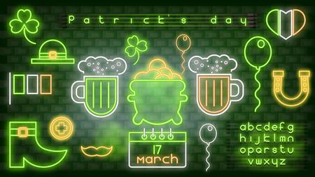 Icônes néon pour la Saint-Patrick et alphabet vert fluorescent sur mur de briques. Illustration vectorielle. Fête de la bière irlandaise. Vecteurs