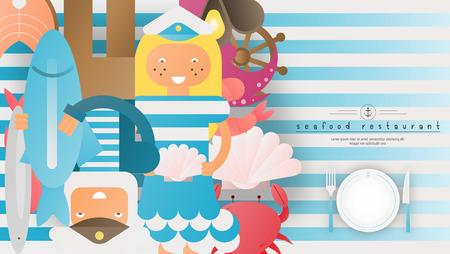 Seafood Restaurant Menu Cover Design. Sailor Man and Sailor Girl, Marine Food on Advertisement for Fish Restaurant, Bar, Cafe. Vector Illustration.