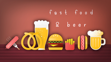 Beer and Fast Food Banner, Poster, Template Menu for Bar, Pub, Shop. Snacks and Beer Mugs on Dark Wooden Background. Vector Illustration.