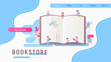 Modern Flat Design Landing Page for Bookstore, Book Festival, Fair, Reading Challenge and Literature Events. Small Characters Cartoon People Reading and Sitting near Big Book. Vector Illustration. Ilustração