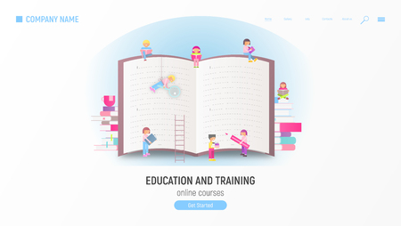 Education and Training Advertising Web Page for Online Courses, Tutorials, E-learning, Mobile App Templates. Small Size Cartoon People near Big Book. Vector Illustration.