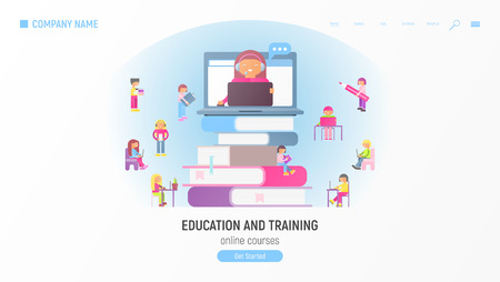 Webinar and Video Seminar Learning Vector Concept. Online Courses, Tutorials, E-learning. Small Size Cartoon People and Online Teacher on Computer Monitor.