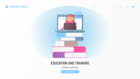 Education and Training. Online Courses Concept. Idea of Skills and Internet. Online Teacher on Computer Monitor on Books. Vector Illustration. E-Learning with Flat People.