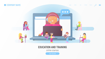 Webinar Concept. Online Courses, Education and Training. Idea of Skills and Internet. Online Teacher on Computer Monitor. Vector Illustration. Website Page.