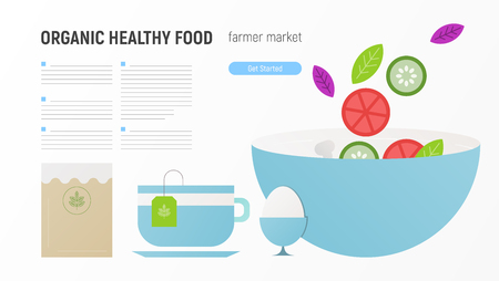 Organic Healthy Meal Website Page - Diet Products and Kraft Packaged. Foods that help Healthcare. Vector Illustration. Web Page Design Templates for Farm Fresh Food.