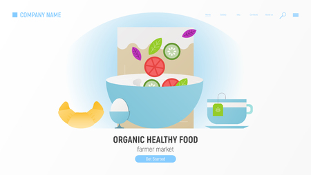Organic Healthy Food Website Page - Diet Products and Kraft Package. Foods that help Healthcare. Vector Illustration. Ilustração