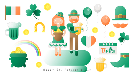St. Patricks Day Symbols. Saint Patrick's Day - Flat Icon Set. Colors of Irish Flag. Vector Illustration. Ilustração