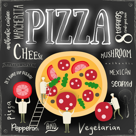 Pizza Vector Cartoon Illustration. Chefs Small Size making Big Pizza on Chalkboard Background. Chalk Text.