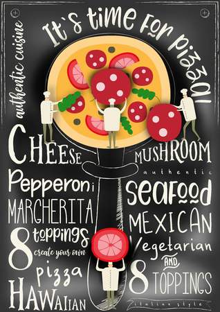 Pizza Vector Cartoon Illustration. Chefs Small Size making Big Pizza on Chalkboard Background. Chalk Text - margarita, neapolitan, pepperoni, mexican, hawaiian, seafood, vegetarian. Ilustração