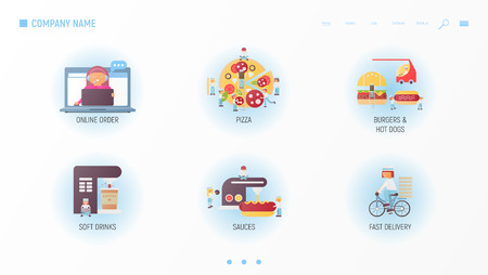 Fast Food Website - Concept for Making, Baking, Sales and Delivery Pizza, Burgers, Hot Dogs. American Style Food. Vector Illustration. Food Banner Design Template for Restaurant Web Site.