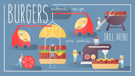 Burgers Banner Web Page Template for Restaurant American Fast Food. Vector Illustration. Great delicious sandwich. Concept for Making, Baking, Sales Hamburgers. Stok Fotoğraf - 119875987