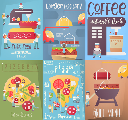 Fast Food Restaurant Posters or Banners Vector Templates Set. Small Cartoon People Cooking Pizza, Burgers, Hot Dogs, Grill. Ads for Fastfood Cafe, Bar, Shop. Illustration