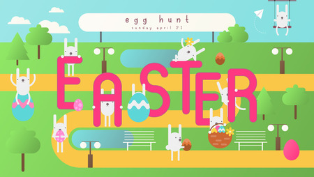 Easter Egg Hunt on Park Map. Easter Eggs and Cartoon Bunny. Spring Greeting Card or Poster. Vector Illustration For Holiday Flyers and Banners Design.