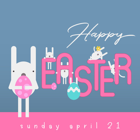Happy Easter Greeting Card - Easter Bunny and Eggs in Cartoon Style on Blue Background. Vector Illustration for Spring Holiday Banner.