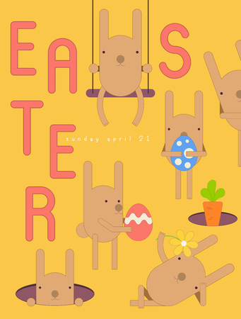 Easter Card - Cartoon Easter Bunnies, Eggs and Carrot on Yellow Background. Banner for Paschal Spring Holiday. Vector Illustration.