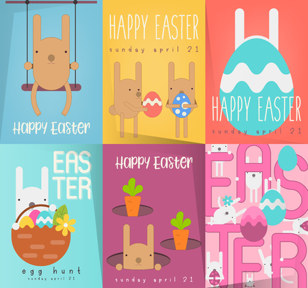 Easter Greeting Posters Set. Collection Mini Placards with Funny Easter Bunnies and Paschal Eggs in Cartoon Flat Style. Vector Illustration for Spring Holiday Banner and Easter Egg Hunt Announcement.