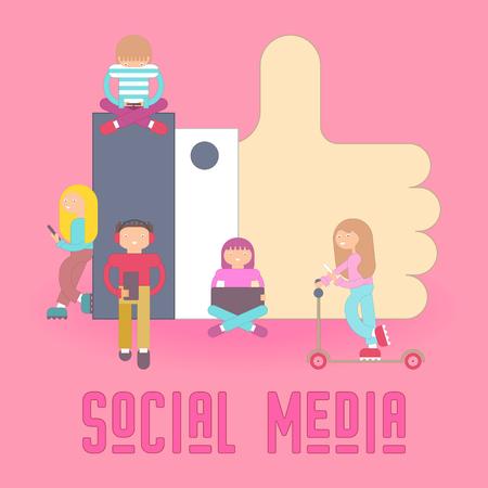 Medios de comunicación social. Me gusta Concept. Dibujos animados de personas pequeñas que utilizan dispositivos móviles: tabletas y teléfonos inteligentes. Ilustración de Vector de blogs y redes sociales.