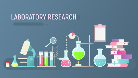Laboratory Research Banner in Flat Style. Lab Equipment Set. Glass Flasks, Beakers, Spirit Lamp, Burner and Microscope on Blue Background. Chemistry Classroom. Vector Illustration. Ilustração