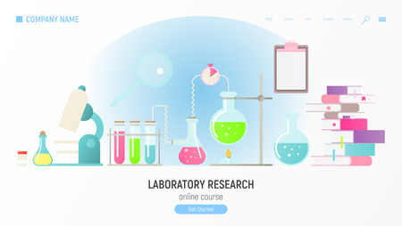 Laboratory Research Website Template. Lab Equipment Set. Glass Flasks, Beakers, Spirit Lamp, Burner and Microscope. Chemistry Web Classroom. Vector Illustration.