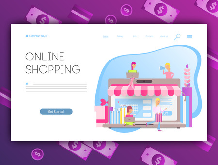 Landing Page Template of Online Shopping. Ecommerce Concept. Modern Flat Design - Young Cartoon People who do Mobile Shopping in front of Huge Laptop. Vector Illustration for Social Media and Website
