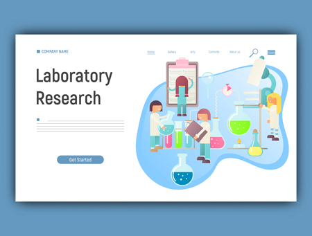 Landing Page Template of Laboratory Research Banner in Flat Style. Equipment Set. Glass Flasks, Beakers, Burner. People Scientists Working at Lab. Vector Illustration for Social Media and Website