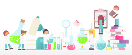 Laboratory Research Banner in Flat Style. Equipment Set. Glass Flasks, Beakers, Burner. People Scientists Working at Lab. Vector Illustration for Social Media and Website. Isolated on White Background