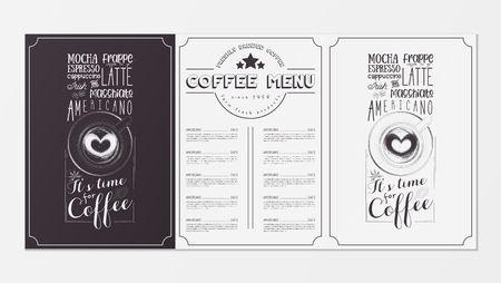 Coffee Menu for Restaurant, Coffee House, Cafe. Design Placemat with Two Variants of Cover - Black Chalkboard and White Background. Hand-drawn Graphic Vector Illustrations - Cappuccino Top View.