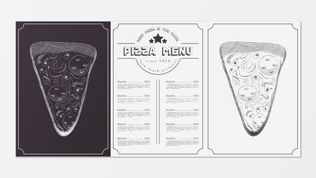 Pizza Food Menu for Restaurant, Pizzeria, Cafe. Design Template Placemat with Two Variants of Cover - Black Chalkboard and White Background. Hand-drawn Graphic Vector Illustrations - Slice of Pizza.