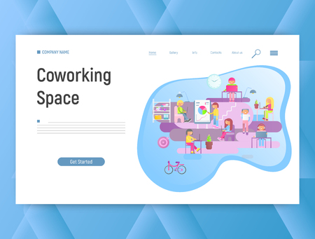 Coworking Space with Young People using Laptops and Smartphones. Modern Work Style for Hipsters and Freelancers. Web Page Template. Creative Office and Co-working Center. Vector Illustration. Ilustração